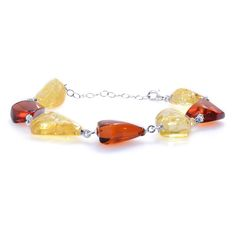 Baltic Yellow Amber Bracelet in Sterling Silver Nickel Free (7.5 in) TGW 35.00 cts.