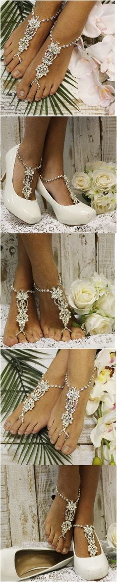 Wedding barefoot sandals by Catherine Cole Studio Heavenly foot jewelry for beach weddings Free shipping! PIN>LIKE>FOLLOW