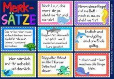 Merksätze für den Deutschunterricht in der Grundschule. Passend auch für DaF. Eselsbrücken für Deutsch und DaF. Tolle Poster für die Grundschule. German mnemonic rhymes