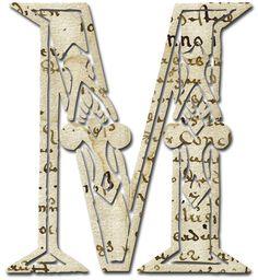 Alfabeto papel antiguo...M