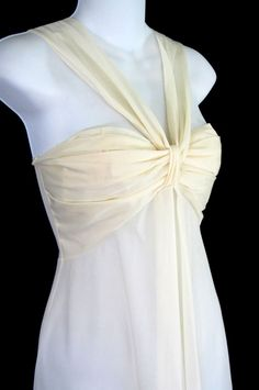 Formfit Rogers Nightgown Ivory Chiffon 32 Vintage Lingerie Long Lined Bra Cup #FormfitRogers