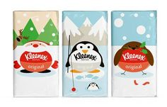 Buddy has created some fun seasonal pack designs for Kleenex Original. Each pack features a winter character integrated with the Kleenex logo to bring a little smile when you reach for a tissue this winter. Paper Packaging, Food Packaging, Brand Packaging, Design Packaging, Pretty Packaging, Packaging Ideas, New Year Packages, Limited Edition Packaging, Creativity And Innovation
