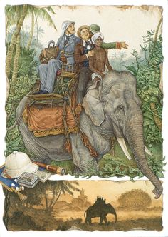 Riding an elephant. Around the World in 80 Days (on adventure novel by the French writer Jules Verne). Art And Illustration, Elephant Illustration, Illustrations Posters, Animal Illustrations, Around The World In 80 Days, Around The Worlds, Kunst Poster, Spirited Art, Dieselpunk