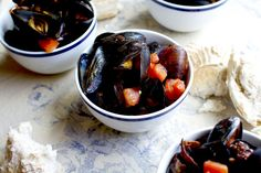 Spicy Mussels with Pancetta + Fresh Tomatoes