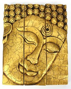 3 Part Thai Buddha Face Panel Ed Gold Finish Carved Wood