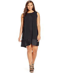 Plus Size Fashion - Plus Size Satin-Trim Flyaway Dress