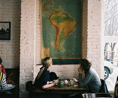 shop, dream, vintage maps, south america, coffee, travel, exposed brick, place, wanderlust