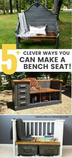 Browse all of these amazing upcycled bench ideas featured on the Grillo Designs blog. These benches have all been made from repurposed furniture!