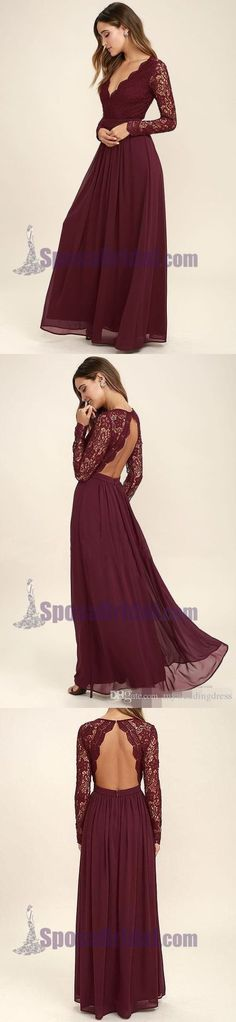 2018 Cheap Chiffon Lace top Long Sleeves Custom Most Popular Open Back Bridesmaid Dress , WG215 #chiffon #burgundy #mismatcheddresses #bridesmaiddresses