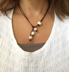 SALE Pearl and Leather Lariat Necklace Wear Long or Short