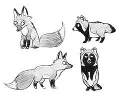 fox and tanuki cartoon character designs by silvercrossfox.deviantart.com on @deviantART