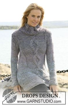 Beautiful knitted sweater with center cable pattern, free pattern from Garnstudio