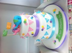 Elephant and bunting double tiered christening cake (for twins)
