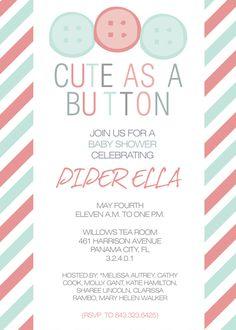 Printable Baby Shower Invitation, Baby Girl & Boy, Typography Birth Info Print, Digital, Art for Nursery, Couples Baby Shower, Stripe Print. $15.00, via Etsy.