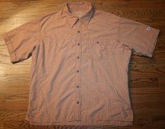 MOUNTAIN HARDWEAR short-sleeve button-down vented SHIRT-Mens XL-camp/hike