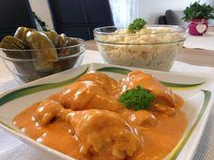 Tejfölös-paprikás csirkecomb galuskával és koviubival! Ilyen egy káprázatos ebéd! Thai Red Curry, Food And Drink, Stuffed Peppers, Meat, Chicken, Vegetables, Ethnic Recipes, Stuffed Pepper, Vegetable Recipes