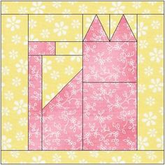 8 Best Photos of Free Cat Quilt Block Patterns - Paper Piecing Cat Quilt Block Pattern, Free Paper Pieced Cat Quilt Blocks and Patchwork Cat Quilt Block Pattern Hand Quilting Patterns, Paper Pieced Quilt Patterns, Quilt Block Patterns, Pattern Blocks, Quilting Projects, Quilting Designs, Quilt Blocks, Dog Quilts, Animal Quilts