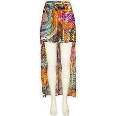 orange multi print, belted raised front maxi skirt