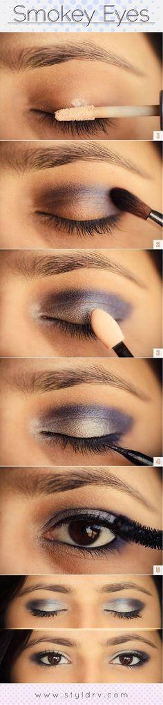 Pretty colored smoky eye tutorial - 8 Silver Eye Makeup Tutorials   GleamItUp