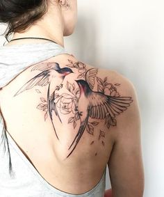 Ever Cute Flying Birds and Flower Tattoos on Shoulder For Women