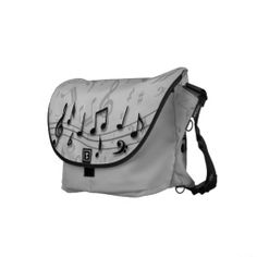 black and gray musical notes commuter bags
