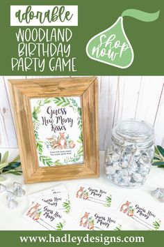 If you want a memorable baby shower game, woodland creatures baby shower guessing game jar cards are for you. The bear candy jar game cards, fox guessing jar cards baby shower candy guessing game cards guess how many candy in the jar, woodland animal baby shower games for girls or boys guess how many kisses game greenery gender reveal games for party deer kids birthday party games for kids, watercolor leaf baby shower games to play owl rabbit forest animal leaves gender neutral baby shower ideas