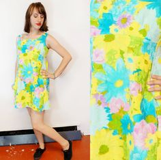 Psychedellic Hawaiian Vacation dress with Acid Blue and Yellow Flower Print // Kaleidoscope Cult Vintage Neon Dresses, Vacation Dresses, Flower Prints, Psychedelic, Hawaiian, Yellow, Blue, Vintage Outfits, Tropical
