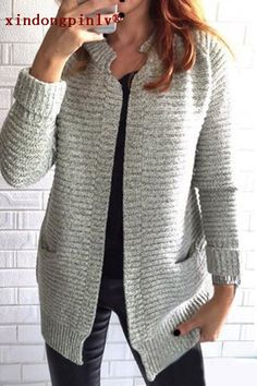 It featured with stand collar, pockets and loose style. The material is so soft and the cardigan without button makes it look so fashionable and simple. The sweater is so chic in the Europe and Americ