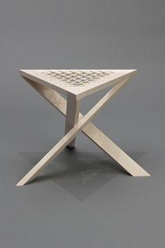 ♂ Unique wood triangle shape stool