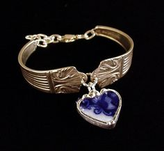 Antique Silver Spoon Bracelet with Broken China Jewelry Flow Blue rose Heart Charm