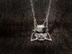 Wasteland brotherhood of steel helmet necklace pendant by Oki007
