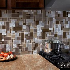 Allen Roth Laser Contempo Beige Mixed Material Glass
