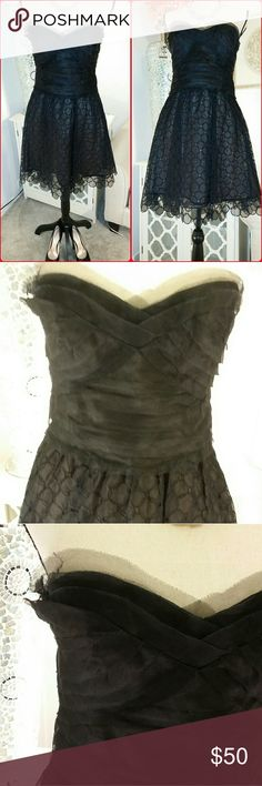 CBG MAXAZARIA STRAPLESS BLACK DRESS Gorgeous Little black dress! BCBG MAXAZRIA  strapless dress with a sweetheart neckline sheer top with circles  embroidery all over and detailed and visible at the bottom. Absolutely stunning!!!! BCBGMaxAzria Dresses Strapless