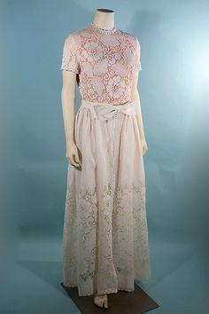 Vintage 60s Romantic Cream Lace Maxi Dress/ Bohemian Wedding Garden Party Dress by Lilli Diamond SZ M