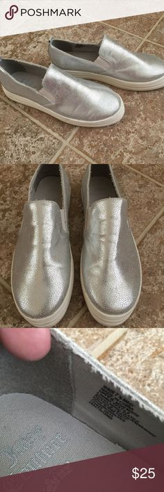 Juicy Couture Slip-Ons Juicy Couture Silver Slip-Ons, size 7.5. I wore them a couple of times, but they're just a bit too small for me. Super cute! Juicy Couture Shoes Sneakers