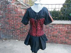 Ladies Black short sleeve chemise w/ trim medieval SCA viking Pirate garb $25.00