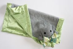 This is too cute!  Gray Robot Security Blanket, Lovey Blanket, Satin, Baby Blanket, Stuffed Animal, Baby Toy - Customize Color - Add Monogramming, BBsForBabies via Etsy.