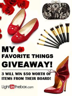"""Check out our Pinterest giveaway! Here's how to win $50 of your favorite LightInTheBox products: 1. Follow us on Pinterest: http://www.pinterest.com/LightInTheBox/ 2. Create a new board titled """"My Favorite LITB Things"""" 3. Fill that board up with your favorite LightInTheBox products and tag #LightInTheBoxfavorites 4. Repin this image to your new board"""