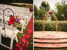 Curly willow arch (right) & mason jar aisle marker (left)