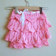 Crochet Pink Ruffle Skirt