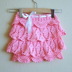 Crochet Pink Ruffle Skirt  FREE Shipping by DaydreamDestination,