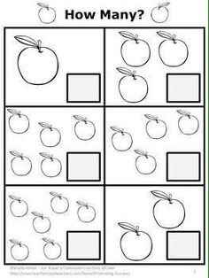 FREE Apples Math Counting Worksheet Preschool Kindergarten Special Education: This printable worksheet works well in the fall for your back to school activities. Students will count the apples and write the number. Kindergarten Special Education, Preschool Education, Math Pages, Preschool Math, Math Activities, Math For Kindergarten, Preschool Apple Theme, Free Kindergarten Worksheets