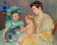 Children Playing with a Cat ~ Mary Cassatt, 1908