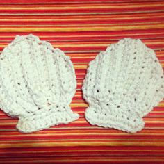 Shell Bikini Pattern (child size) Ch 7 Rnd 1: sc in 2nd st from hook, sc 6sts, ch1 & turn (Working in back st through out) Rnd 2: sc 5s...