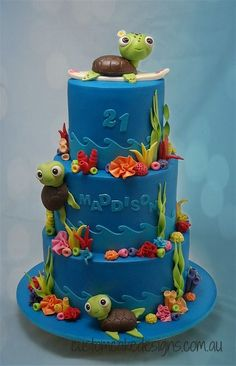This cake was made for Maddison who is turning 21 this weekend and having a Under the Sea / Fantasia themed party. Her sister also wanted to reflect her love of the ocean, sea turtles, frangipanis and surfing into the cake. Ocean Cakes, Beach Cakes, Beautiful Cakes, Amazing Cakes, Cake Pops, Turtle Birthday, Birthday Cake, Turtle Party, Nemo Cake