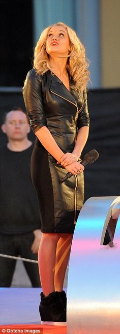Ashley Roberts leather dress.