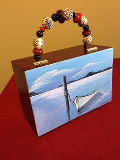 Hand painted repurposed cigar box purse  on Etsy, $45.00