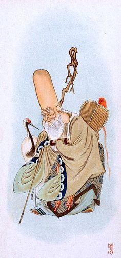 Fukurokuju est une des Sept Divinités du Bonheur dans la mythologie Shinto. Il est le dieu de la richesse, de la longévité, de la virilité & de la sagesse. Il est représenté sous les traits d'un vieillard à la tête chauve et allongée, portant une barbe blanche, s'appuyant sur une canne orné d'un rouleau de document et tenant un éventail (ogi) dans l'autre main. Fukurokuju est accompagné de grues. Il incarne l'étoile antarctique.