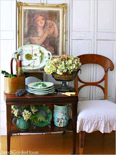 Secret Life of Antiques: French Majolica II - French Garden House - How to display your collection of Antique French Majolica Asparagus and Artichoke plates, platters - French Decor, French Country Decorating, Cath Kidston, French Antiques, Vintage Antiques, Vintage Clocks, Vintage Vignettes, Cosy Home, Fru Fru