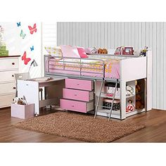 Pink and White Kids Loft Bed with Storage and Work Desk.  Twin Size Children's Teen's Bedroom Furniture ON SALE NOW! Lofted Girl's Beds Are a Great Place to Sleep and Fit in with Any Decor. THE Spacious Cabinet has Adjustable Shelves, 3 Drawers, and Safety Rails!